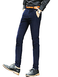 Men's Straight / Slim Pants,Casual/Daily Solid Low Rise Zipper / Button Cotton Micro-elastic Fall / Winter