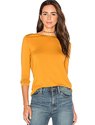 Damen Solide Sexy Lässig/Alltäglich T-shirt,Rundhalsausschnitt Herbst Langarm Gelb Baumwolle Mittel