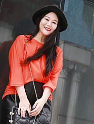 Tee-shirt Femme,Couleur Pleine Décontracté / Quotidien simple Automne Manches ¾ Col Arrondi Orange Coton Moyen