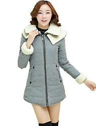 Women's Solid Sheep Velvet Double Layer Neck Woolen Long Padded-down Coat