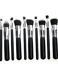 10 Makeup Brushes Set Synthetic Hair Travel Wood Face