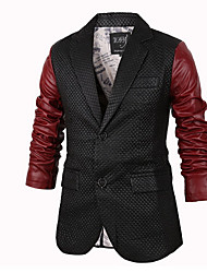 Men's Casual/Daily Simple Leather Jackets,Color Block Shirt Collar Long Sleeve Fall Black PU