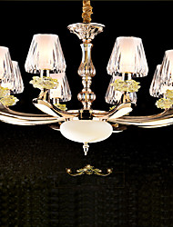 8 Lights European Style Indoor Chandelier Crystal Luxury Droplight Zinc Alloy Pendant Lamp