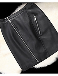 Feminino Saias-Evasê / Bodycon Cor Única Cintura Média Casual Mini Zíper PU Micro-Elástico Outono / Inverno