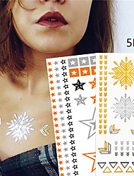 5 Tattoo Stickers Jewelry Series / Animal Series / Flower Series / Totem Series / Others / Cartoon Series / Romantic SeriesNon Toxic /