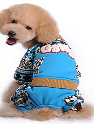 Dog Sweater Blue / Pink Dog Clothes Spring/Fall Letter & Number Keep Warm