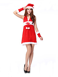 Cosplay Costumes Santa Suits / Bunny Girls Movie Cosplay Red Solid Dress / Hat Christmas Female Polyester