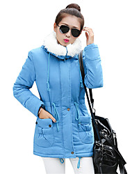 Women's Winter Warm Fleece Lining Slim Parka Coat Simple Casual Solid Long Sleeve Square Neck
