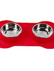 Gato / Cachorro Comedouro Animais de Estimação Tigelas e alimentação de animais Prova-de-Água / Reflector / Casual VermelhoPlástico / Aço