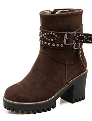 Women's Boots Fall / Winter Fleece Party & Evening / Dress / Casual Platform Beading / Buckle / Zipper Black / Brown / Beige