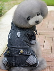 Dog Denim Jacket/Jeans Jacket Black Dog Clothes Winter / Spring/Fall Solid Fashion / Cowboy