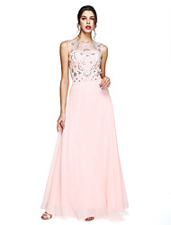 2017 TS Couture® Formal Evening Dress - Sparkle & Shine / Beautiful Back A-line Jewel Floor-length Chiffon withBeading / Sash / Ribbon