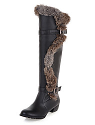 Women's Boots Fall Winter Other Leather Fur Dress Casual Hook & Loop Black Brown White Other