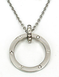 Fashion 316L Stainless Steel Circle CZ Diamonds Inlaid Pendant Necklace