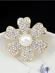 May Polly  Europe classic natural pearl diamond hollow Camellia corsage