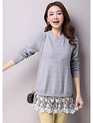 Women's Casual/Daily Simple Sweater Dress,Solid Round Neck Above Knee Long Sleeve Pink / White / Gray Cotton / Polyester Fall / WinterMid