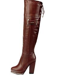 Women's Boots Fall Winter Comfort PU Glitter Dress Casual Chunky Heel Studded Black Coffee Walking