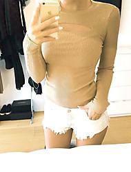 Damen Solide Sexy / Niedlich Lässig/Alltäglich T-shirt,Rundhalsausschnitt Herbst / Winter Langarm Rot / Weiß / Beige / SchwarzBaumwolle /