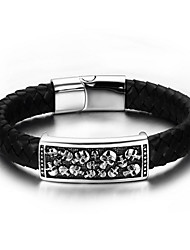 Men's Loom Bracelet Leather Alloy Fashion Hip-Hop Rock Punk Jewelry 1pc