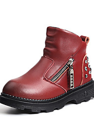 Girls' Boots Comfort Cowhide Casual Comfort Black Yellow Burgundy Flat