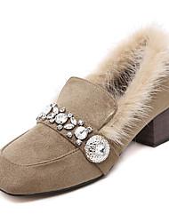 Women's Heels Fall Winter Comfort Fleece Office & Career Casual Chunky Heel Crystal Black Khaki Others