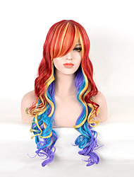 Beautiful Women's Wavy Mixed Color Long Cosplay Synthetic Wigs