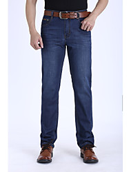 Men's Straight Jeans Pants,Going out Simple Solid Mid Rise Button Cotton Micro-elastic All Seasons