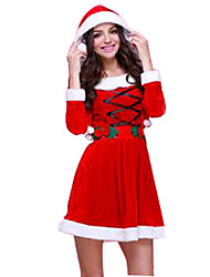 Festival/Holiday Halloween Costumes Red Solid Dress / Hats Christmas Female