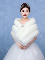 Women's Elegant Warm Bridal Wrap Capelets Faux Fur Wedding / Party/Evening Winter Solid Thick White