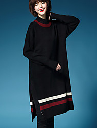Women's Going out / Casual/Daily Sexy / Cute Loose Dress,Solid Round Neck Above Knee Long Sleeve Red / Black / Gray / Orange Wool Winter