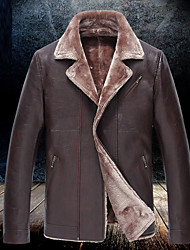 Men's Casual/Daily Simple Jackets,Solid V Neck Long Sleeve Winter Black / Brown / Green Faux Fur Thick