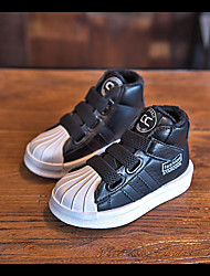 Boy's Sneakers Fall / Winter Comfort Leather Casual Flat Heel Lace-up Black / White Sneaker