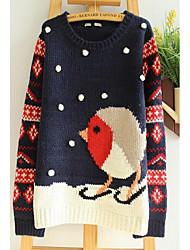 Damen Standard Pullover-Lässig/Alltäglich Einfach Druck Blau Rundhalsausschnitt Langarm Kunst-Pelz Frühling Herbst Mittel Mikro-elastisch