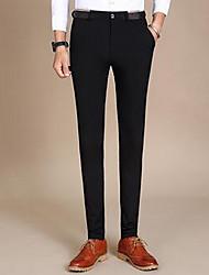 Hommes Slim Chino Pantalon,simple Soirée Couleur Pleine Taille Normale fermeture Éclair Coton Micro-élastique Sangle / Automne