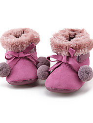 Girl's Flats Fall / Winter First Walkers / Crib Shoes Fleece Dress / Casual Purple