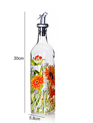 1PC Rice And Bean Oil Can Leak Large Glass Bottles Of Sesame Oil Seasoning Bottle Creative Lecythus(Style random)