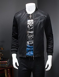 Men's Going out / Casual/Daily Simple Jackets,Solid Stand Long Sleeve Fall Black / Green Cotton Thin