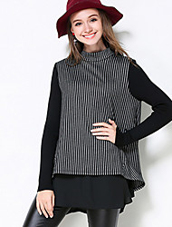 MEIDONGTAI Women's Plus Size / Casual/Daily Simple Fall T-shirtStriped High Neck Long Sleeve Black Polyester Medium