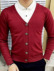 Men's Going out Simple Regular Cardigan,Solid Blue / Red / Black / Green / Orange / Yellow V Neck Long Sleeve Cotton Fall Medium