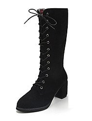 Women's Boots Winter Comfort Suede Casual Chunky Heel Chain Lace-up Black Khaki Dark Green Other