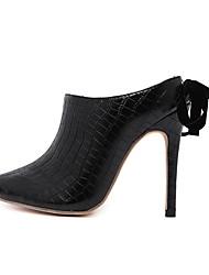 Women's Heels Novelty Leather Microfibre Office & Career Dress Casual Party & Evening Stiletto Heel Satin Flower Black