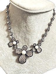 Women's Collar Necklace Rhinestone Pearl Rhinestone Flower Flower Style Fashion Silver Jewelry Wedding Party Daily 1pc