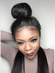 Mujer Pelucas de Cabello Natural Brasileño Cabello humano Encaje Frontal Frontal sin Pegamento Densidad Liso Peluca Negro Azabache Negro