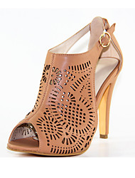 Women's Sandals Spring Summer Fall Leatherette Casual Party & Evening Stiletto Heel Hollow-out Plaid Camel Other