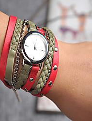 Femme Montre Tendance / Montre Bracelet / Bracelet de Montre Quartz Coloré Cuir BandeVintage / Bohème / Charme / Bracelet / Cool / Pour