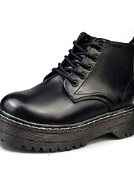 Women's Boots Winter Comfort PU Casual Platform Lace-up Black Silver Burgundy Other