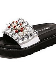 Women's Slippers & Flip-Flops Slide PU Casual Black Silver