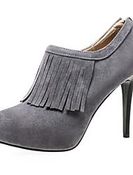 Feminino-Saltos-Sapatos de Berço-Salto Agulha-Preto / Cinza-Camurça-Escritório & Trabalho / Social / Casual