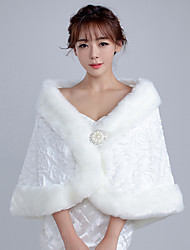 Women's Elegant Bridal Warm Wrap Capelets Faux Fur Wedding / Party/Evening Winter Solid White / Red