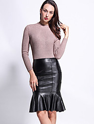 Women's Bodycon Solid Ruffle Skirts,Party/Cocktail Sexy High Rise Knee-length Elasticity PU Micro-elastic Winter
